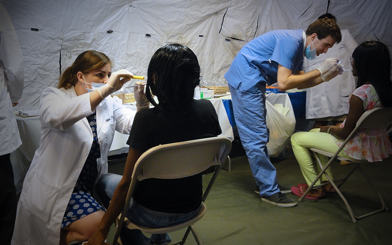 medical professions working during urban service track