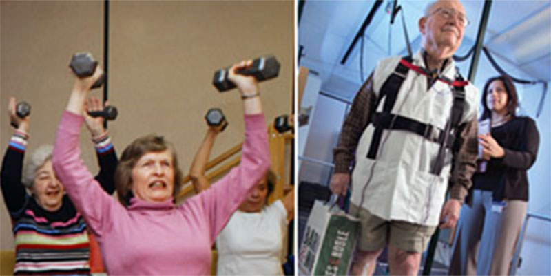 women working out, man assisted walking