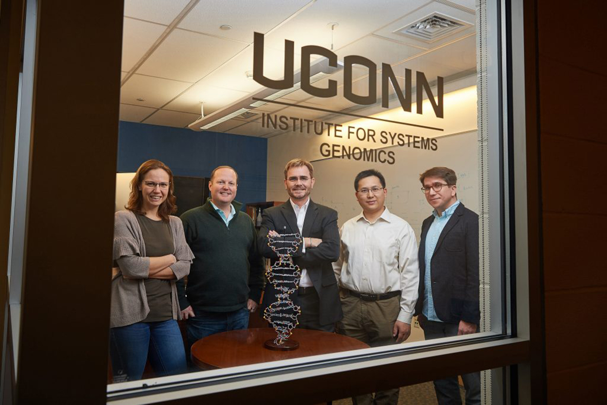 From left, Duygu Ucar, Justin Cotney, Brenton Graveley, Zhengqing Oyang, and Stefan Pinter, at the Cell and Genome Sciences Building in Farmington