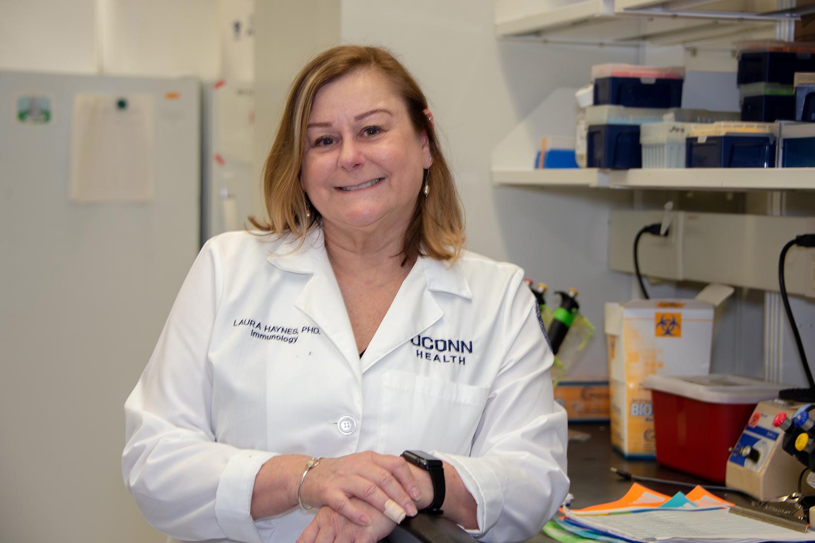 Laura Haynes, Ph.D., in her lab