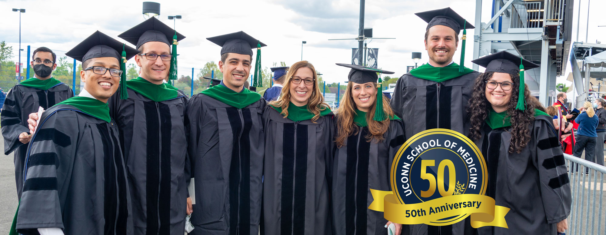 Students from the UConn Schools of Medicine and Dental Medicine and the UConn Graduate School attended the commencement of the Class of 2021, marking the 50th graduating class of medical and dental students, on May 8, 2021.